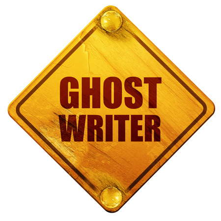 writer: ghost writer, 3D rendering, yellow road sign on a white background