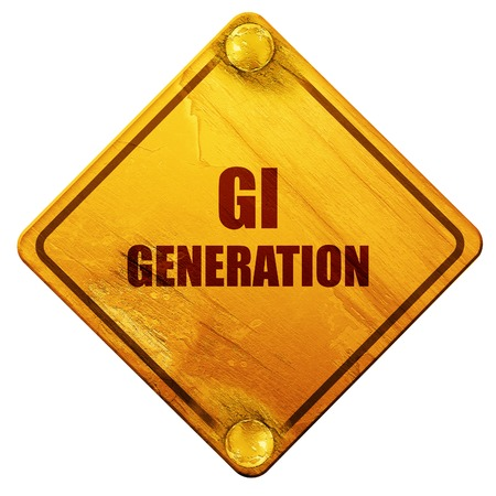 generations: List of generations,The Lost Generation,The Greatest Generation,The Silent Generation., 3D rendering, yellow road sign on a white background Stock Photo