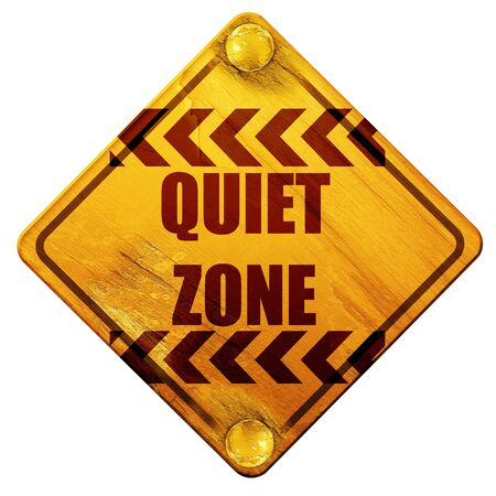 quiet: Quiet zone sign with some vivid colors, 3D rendering, yellow road sign on a white background Stock Photo
