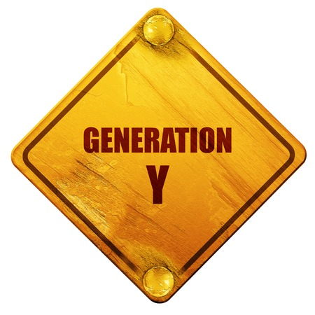 generation y: generation y word, 3D rendering, yellow road sign on a white background Stock Photo