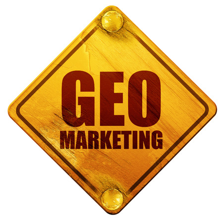 geo: geo marketing, 3D rendering, yellow road sign on a white background