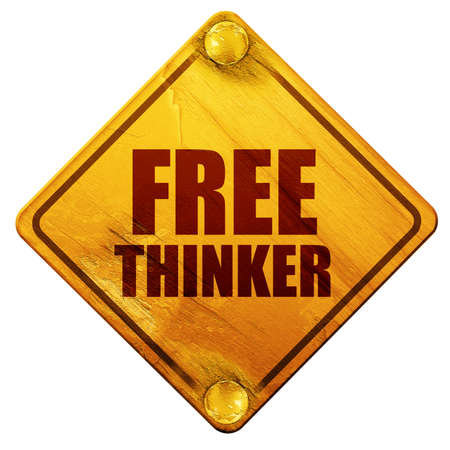 the thinker: free thinker, 3D rendering, yellow road sign on a white background Stock Photo