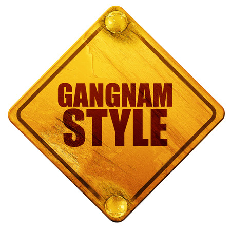 gangnam: gangnam style, 3D rendering, yellow road sign on a white background