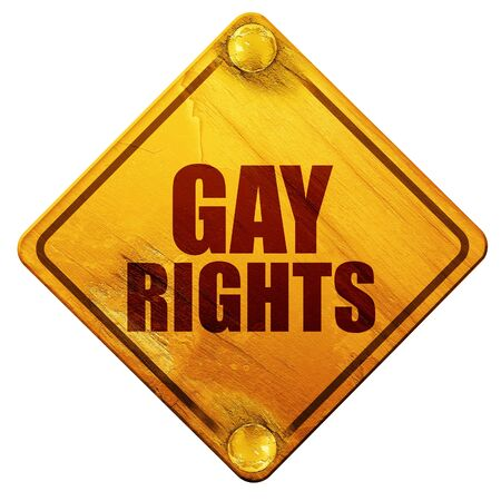 bisexuality: gay rights, 3D rendering, yellow road sign on a white background Stock Photo