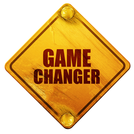 daring: game changer, 3D rendering, yellow road sign on a white background Stock Photo