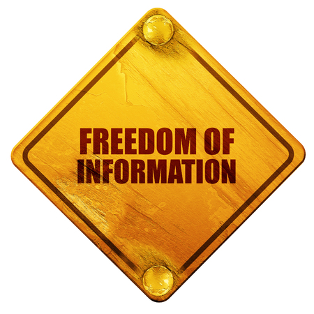 veiled: freedom of information, 3D rendering, yellow road sign on a white background Stock Photo