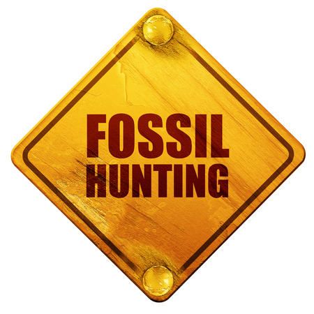 fossil: fossil hunting, 3D rendering, yellow road sign on a white background