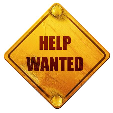 help wanted sign: Help wanted sign with some smooth lines, 3D rendering, yellow road sign on a white background