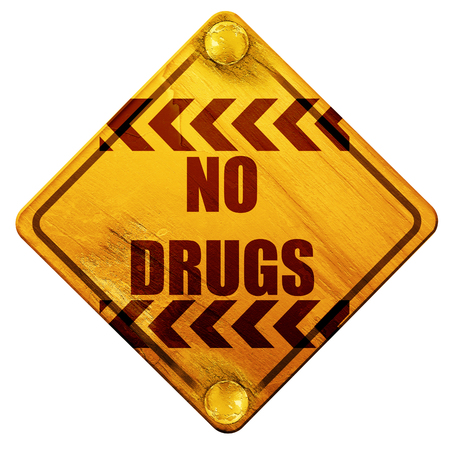 illegal zone: No drugs sign with some vivid colors, 3D rendering, yellow road sign on a white background