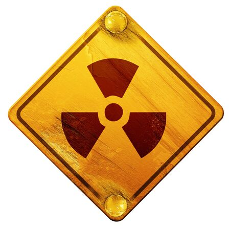 nuclear sign: Nuclear danger background on a grunge background, 3D rendering, yellow road sign on a white background