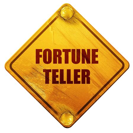 bygone: fortune teller, 3D rendering, yellow road sign on a white background