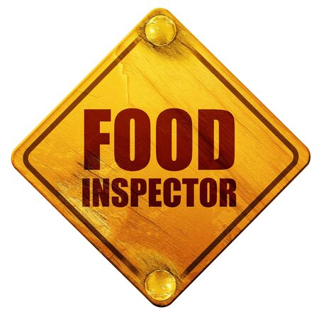 inspector: food inspector, 3D rendering, yellow road sign on a white background
