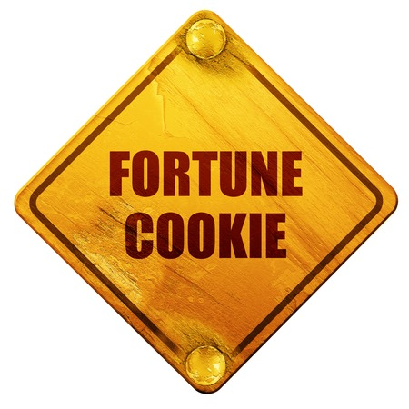 fortune cookie: fortune cookie, 3D rendering, yellow road sign on a white background Stock Photo
