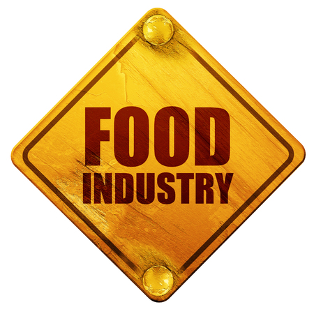 food industry: food industry, 3D rendering, yellow road sign on a white background