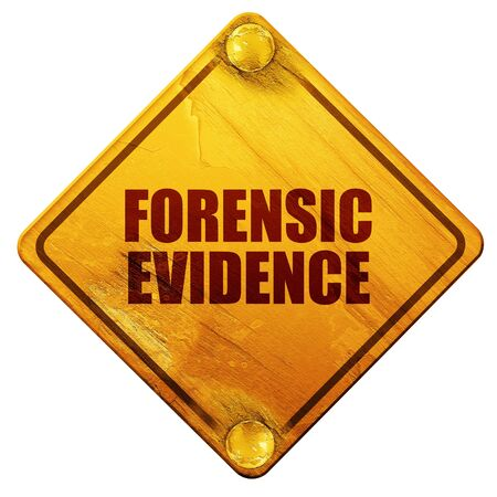 forensic: forensic evidence, 3D rendering, yellow road sign on a white background Stock Photo