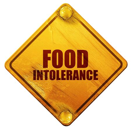 food poison: food intolerance, 3D rendering, yellow road sign on a white background