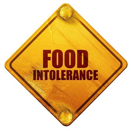 intolerancia: intolerancia a los alimentos, 3D, se�al de tr�fico amarillo sobre un fondo blanco