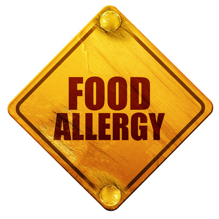 food allergy: food allergy, 3D rendering, yellow road sign on a white background Stock Photo
