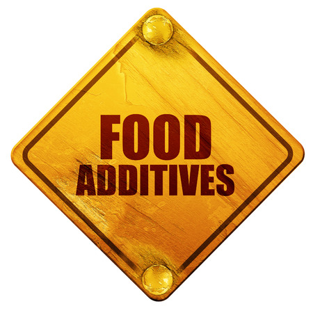 food additives: food additives, 3D rendering, yellow road sign on a white background
