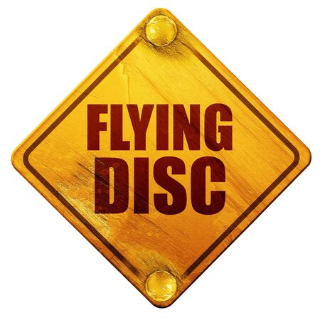 flying disc: flying disc, 3D rendering, yellow road sign on a white background