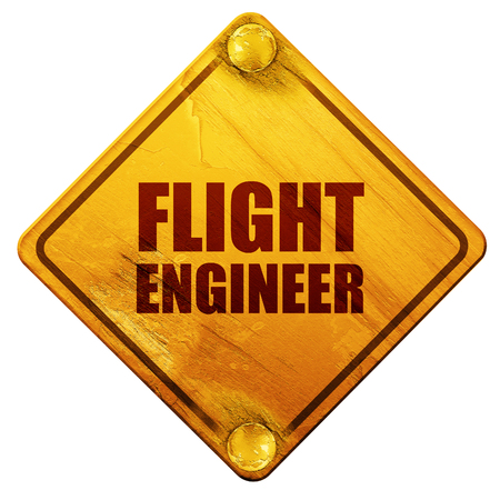 detail: flight engineer, 3D rendering, yellow road sign on a white background