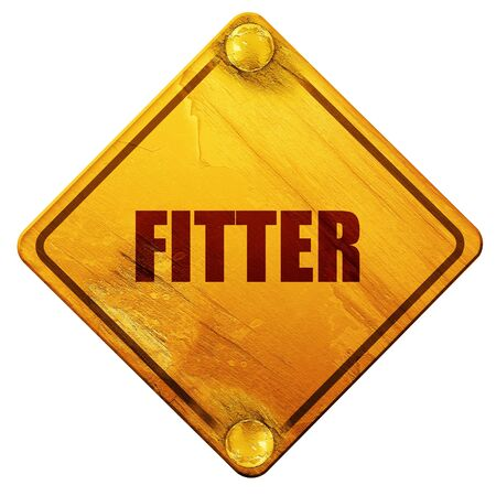 fitter: fitter, 3D rendering, yellow road sign on a white background