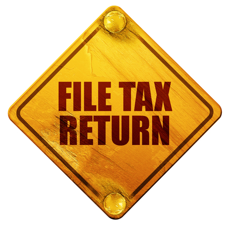 owe: file tax return, 3D rendering, yellow road sign on a white background Stock Photo