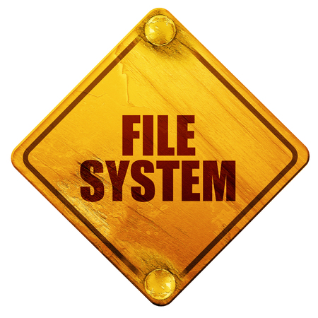 custom cabinet: file system, 3D rendering, yellow road sign on a white background