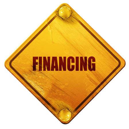 financing: financing, 3D rendering, yellow road sign on a white background Stock Photo