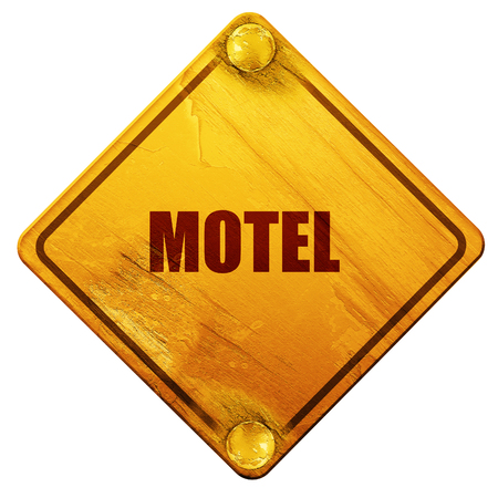 holidays vacancy: Vacancy sign for motel with some soft glowing highlights, 3D rendering, yellow road sign on a white background