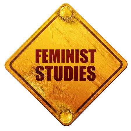 feminist: feminist studies, 3D rendering, yellow road sign on a white background