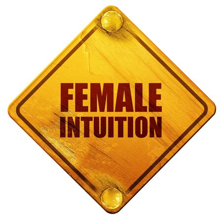intuition: female intuition, 3D rendering, yellow road sign on a white background Stock Photo