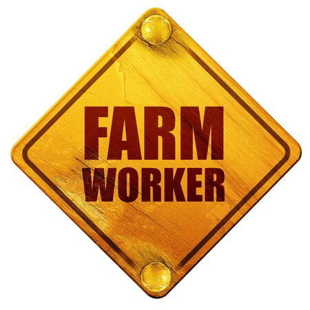 road worker: farm worker, 3D rendering, yellow road sign on a white background