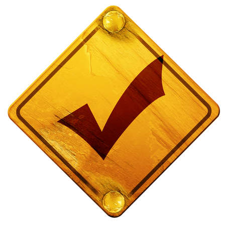 acception: Approved tick with smooth lines and vivid colors, 3D rendering, yellow road sign on a white background