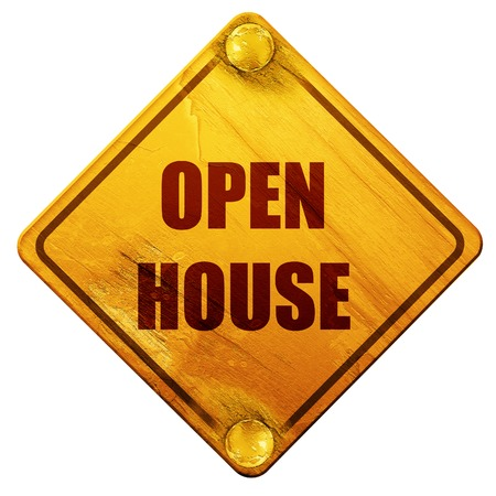 realtor: Open house sign with some soft smooth lines, 3D rendering, yellow road sign on a white background