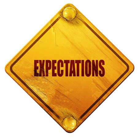 expectations: expectations, 3D rendering, yellow road sign on a white background