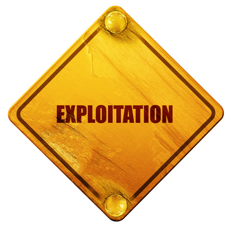 exploitation: Exploitation word Business man touching on blue virtual screen, 3D rendering, yellow road sign on a white background Stock Photo