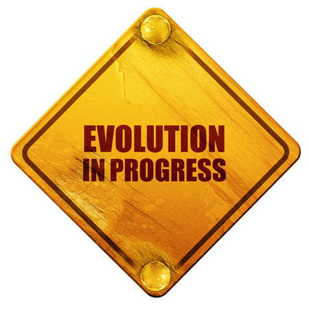 darwin: evolution in progress, 3D rendering, yellow road sign on a white background