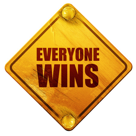 wins: everyone wins, 3D rendering, yellow road sign on a white background