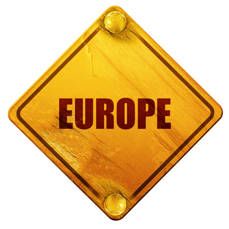 euro screw: eruope, 3D rendering, yellow road sign on a white background