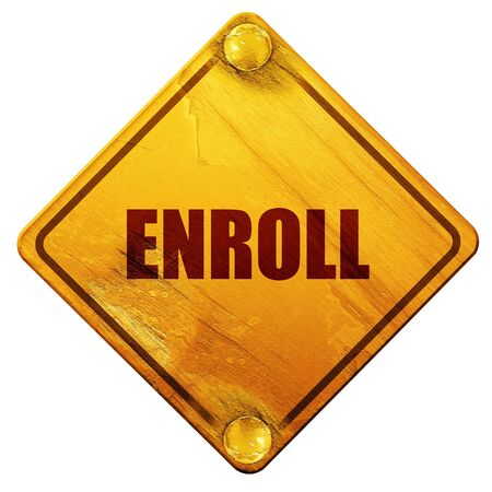 medicaid: enroll, 3D rendering, yellow road sign on a white background Stock Photo
