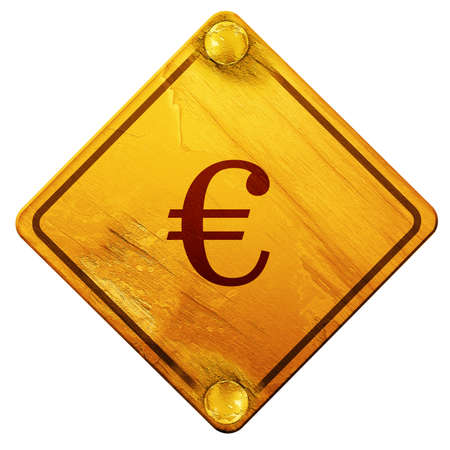 euro screw: euro sign, 3D rendering, yellow road sign on a white background