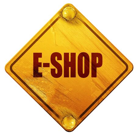 eshop: e-shop, 3D rendering, yellow road sign on a white background Stock Photo