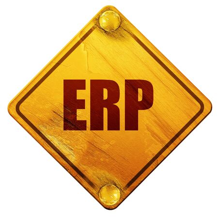erp: erp, 3D rendering, yellow road sign on a white background Stock Photo