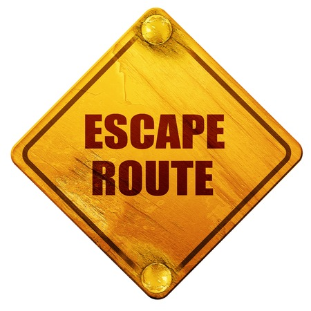 disaster preparedness: escape route, 3D rendering, yellow road sign on a white background