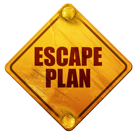 disaster preparedness: escape plan, 3D rendering, yellow road sign on a white background