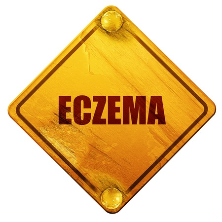 dermatologist: eczema, 3D rendering, yellow road sign on a white background