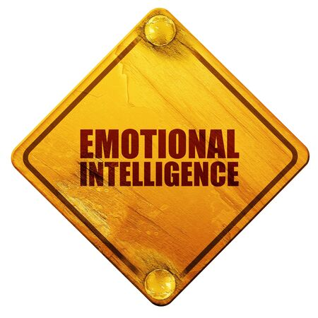 reason: emotional intelligence, 3D rendering, yellow road sign on a white background