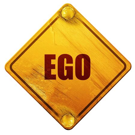 psychoanalysis: ego, 3D rendering, yellow road sign on a white background