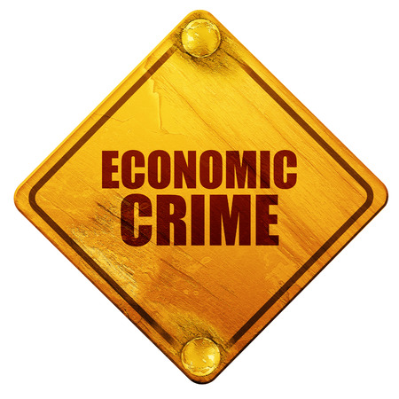 prisoner of the money: economic crime, 3D rendering, yellow road sign on a white background